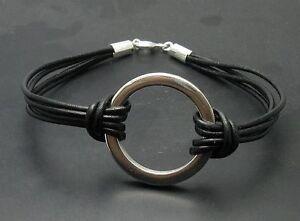 Stilvolles-Sterling-Silber-Armband-Kreis-massiv-punziert-925-mit-Leder