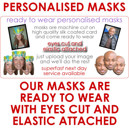 29 Personalised Party Face Masks Pre-Cut Ready To Wear