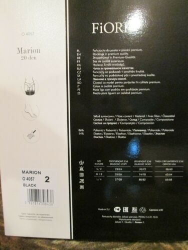 FIORE MARION  NEW PREMIUM QUALITY  CHARMING DOTS  GARTER STOCKINGS 3 SIZE  BLACK