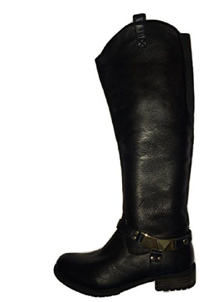 Moda in Pelle Real nero Leather oroen Strap  Flat Riding Style avvio UK 5   38 EU  alla moda