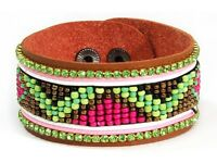 Leather Bracelet With Multicolor Beads 8