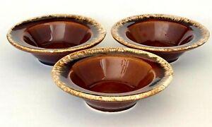 "3 Vintage Hull Pottery Brown Drip Crestone Rimmed Rim Bowls 6"" Fruit/Dessert"