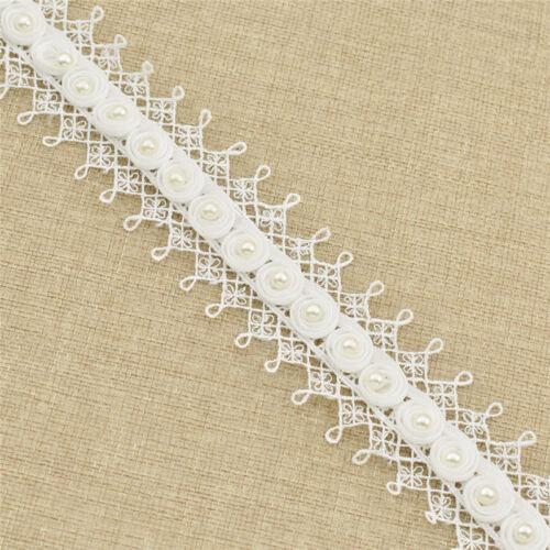 Spitzenborte Weiß Blume Randverzierung Guipure-Spitze Perlenbesetzt Nähen Deko