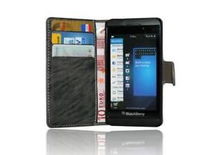 BlackBerry-Z10-Book-Style-Hulle-Etui-Handytasche-Schale-Anthrazit