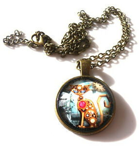 FREE GIFT BAG GORGEOUS STEAMPUNK CAT PENDANT /& NECKLACE