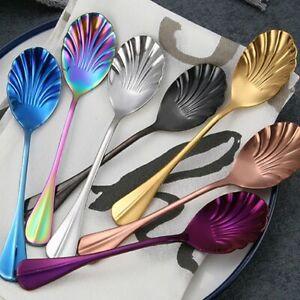 Tableware-Shell-Stir-Coffee-Tea-Spoon-Ice-Cream-Scoops-Upscale-Utensils