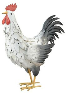 Image Is Loading Metal White Rooster Statues Chicken Art Garden Sculpture