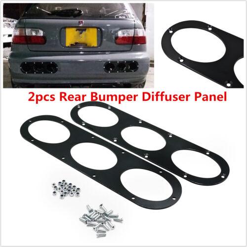 Aluminum Alloy 2pcs Car SUV Race Rear Bumper Air Diversion Diffuser Panel Black