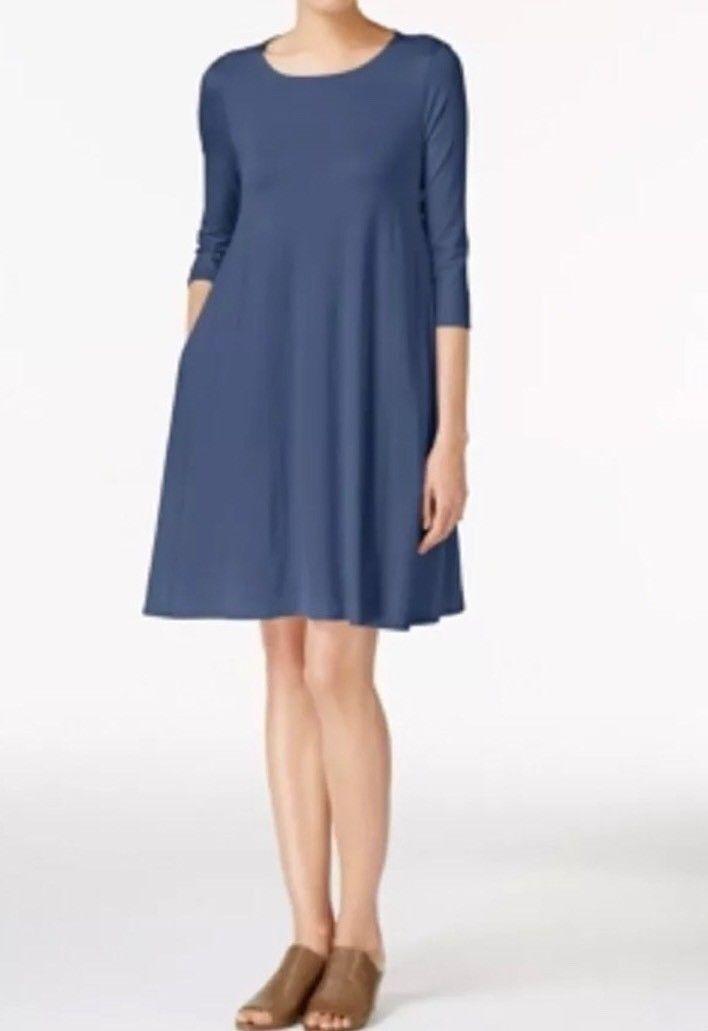 Eileen Fisher Lightweight Viscose Jersey bluee KL Dress Size S P NWT