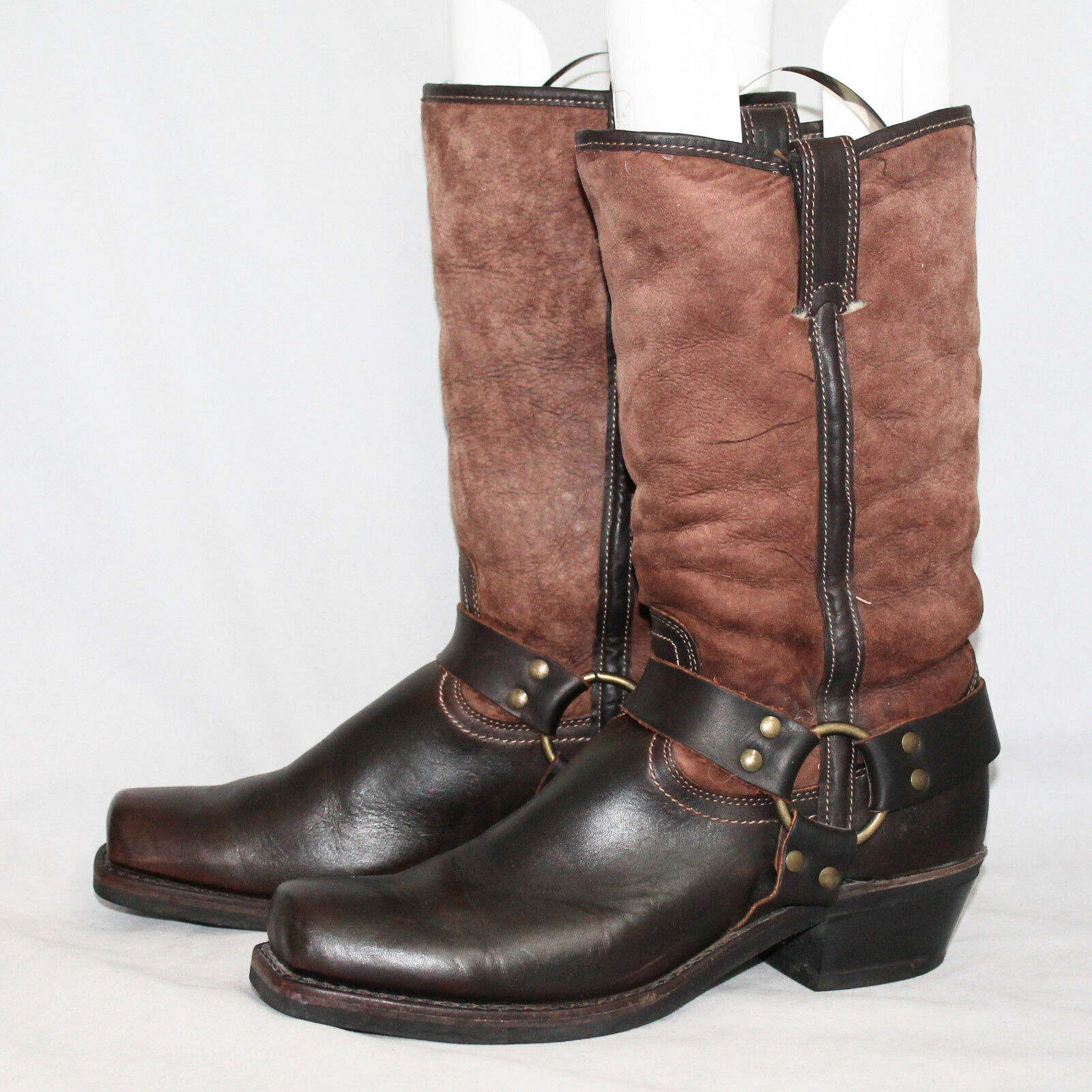 FRYE Shearling Lined Slouchy mocka Harness Boot 111048 Wo s 10M bspringaaa Square Toe
