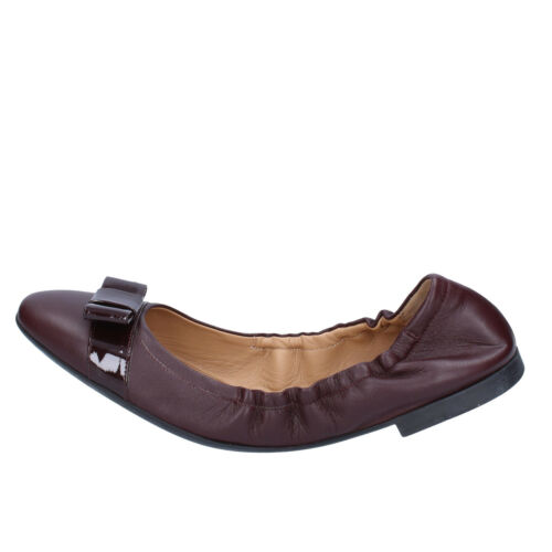 women/'s shoes BALLY 7 flats burgundy leather patent leather BZ995-C EU 37