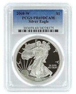 2008-W-1oz-Silver-Eagle-Proof-PCGS-PR69-DCAM-Blue-Label