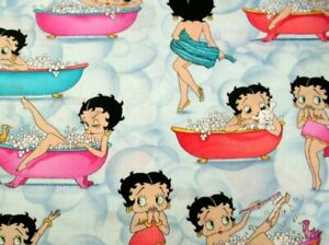Vicky-039-s-Private-Stash-PRE-WASHED-1-25-Yards-Betty-Boop-in-the-Tub-Cotton-Fabric