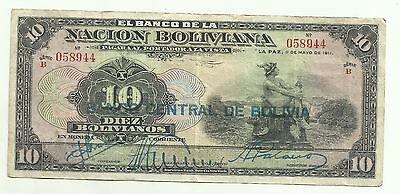 P-113 VF /> Hand Signed Bolivia 1929 5 bolivanos