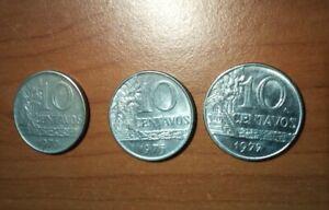 Lotto 3 Monete 10 centavos Brasile Brasil vari anni 70 coins