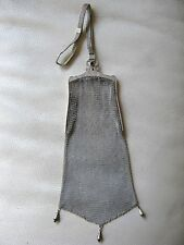 Antique Art Deco ALPACCA Silver Blue Jewel Micro Mesh Purse GERMANY WELDMESH GSJ