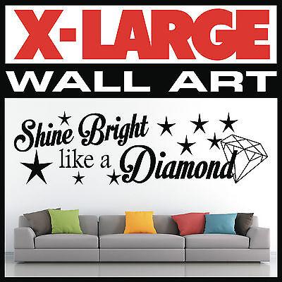 Wall art citation shine bright like a diamond vinyle autocollant décalque graphique home 002