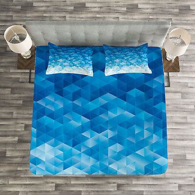 Geometric Triangles Mosaic Print Details about  /Blue Quilted Bedspread /& Pillow Shams Set