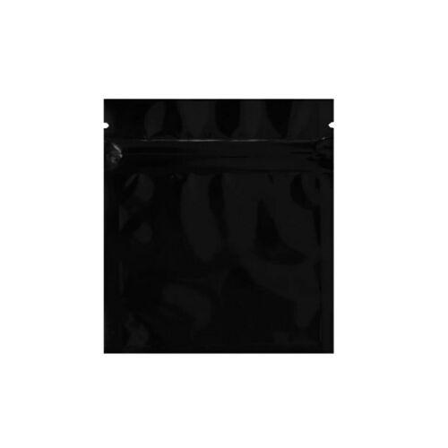 50 Smell Proof Mylar Food Bags 3X4 Zip Seal Black Matte Heat Sealable Baggies