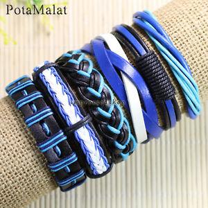 PotaMalat-6pcs-Handmade-Vintage-Blue-Leather-Bracelets-For-Men-and-Women-D62