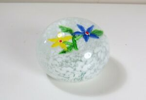 Layered-Art-Glass-Flower-Paperweight-Blue-amp-Yellow-Flowers-on-White-Background