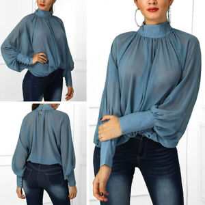 Womens-Tops-Ladies-Chiffon-Long-Sleeve-Casual-Blouse-Solid-Color-Stylish-Sheer