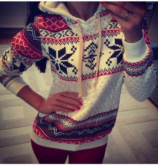 Women Pullover hoodie christmas Jumper sweater sweatshirt Blouse Tops