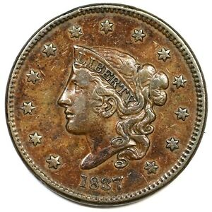 1837-N-3-Matron-or-Coronet-Head-Large-Cent-Coin-1c