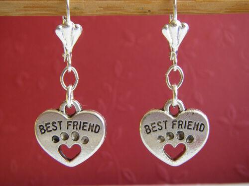 "Aretes hundepfote corazones /""Best Friend/"" tierpfote patas-aretes plateado"
