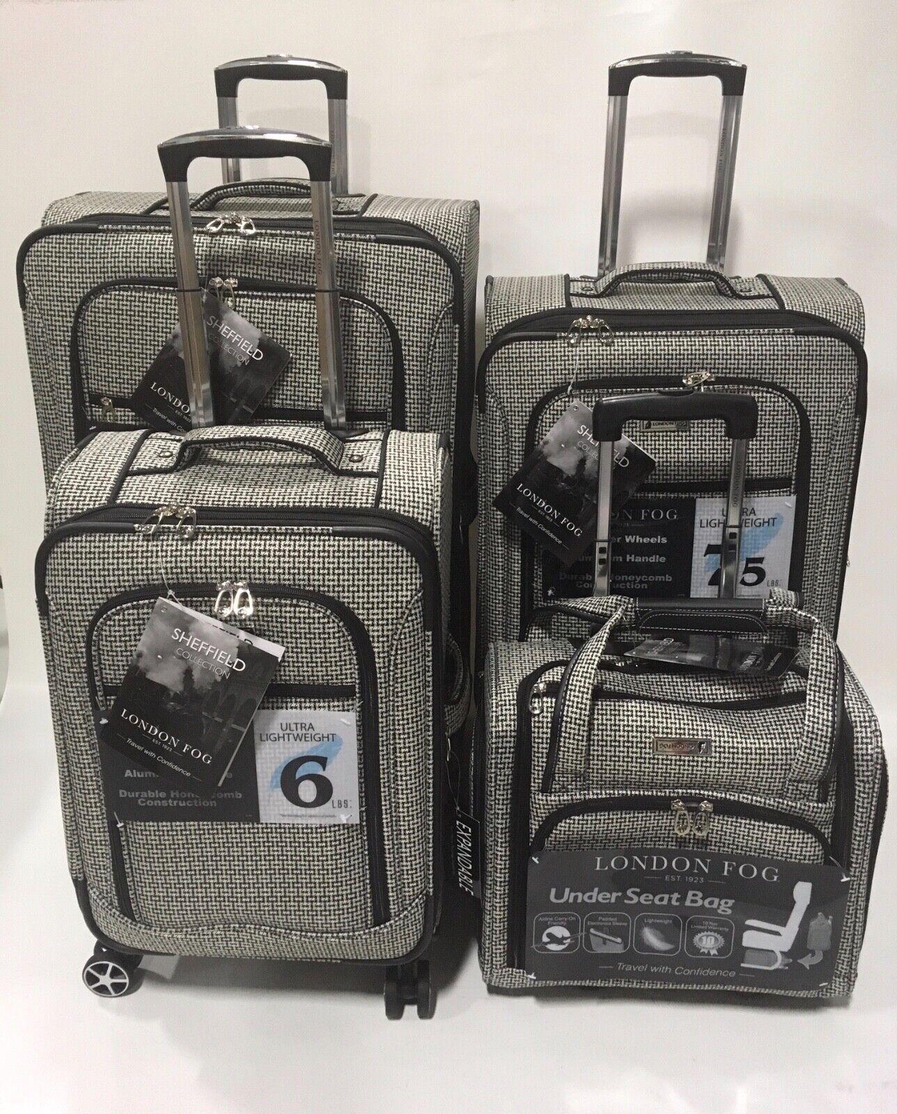 London Fog Sheffield 4pc Light Luggage Set Expandable Black White Square For Sale Online Ebay