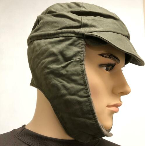 German army suplus winter cold weather hat with fold down ear covers OLIVE