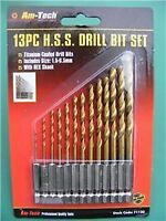 "13pc HSS METAL DRILL BIT SET 1/4"" HEX SHANK, 1.5-6.5mm"