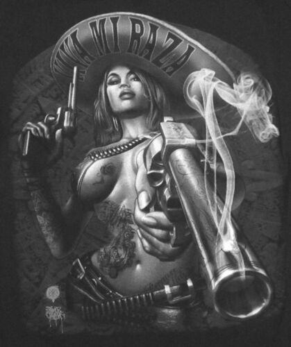 VIVA MI RAZA T-shirt Charra Smoking Gun Tattoo Tee Womens Jrs Juniors S-XL New