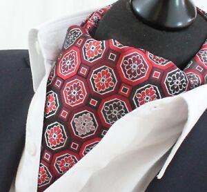 Cravate Ascot Rouge & Noir Mosaïque Cravat Assorti Mouchoir.-afficher Le Titre D'origine Usines Et Mines