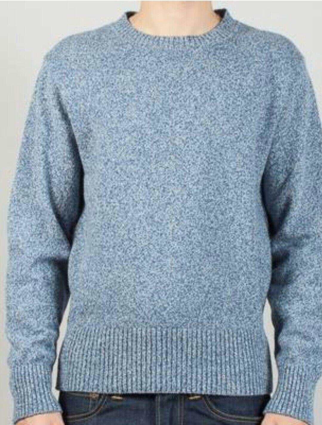 Universal Works Chunky Crew Melange Cotton Blau Sweater Größe XL BNWT