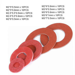 Details about 100pcs M2 M2 5 M3 Red Insulating Fiber Fibre Flat Washers  Sealing Gaskets Kit