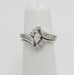 157e56823ebf0 Details about Zales 1/2CT Marquise Diamond Engagement Wedding Ring Bridal  Set 14K White Gold