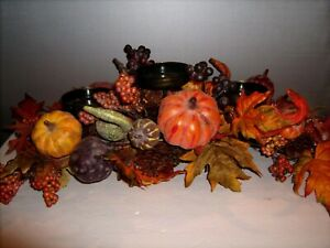 Thanksgiving-Decoration-Centerpiece-Pumpkins-Gourds-Berries-3-Candle-Holder