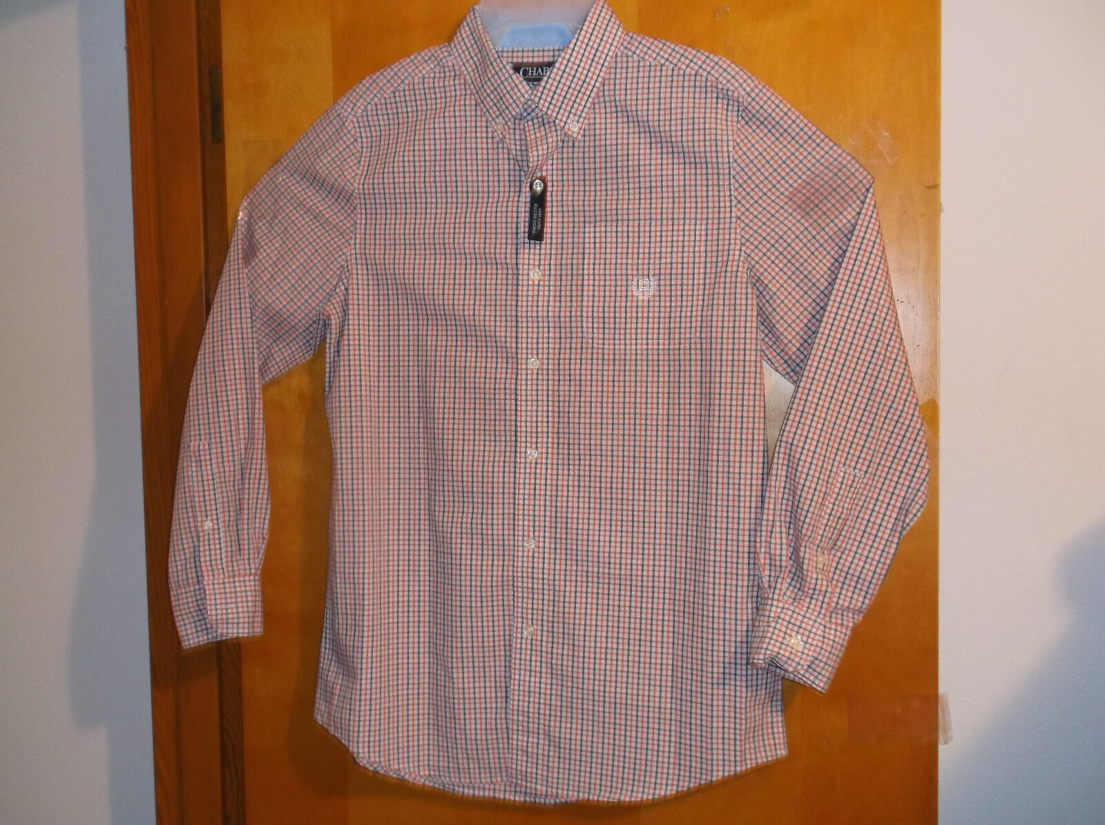 NEW CHAPS blueE & orange PLAID L S  BUTTON DOWN COLLAR CASUAL SHIRT... SM..34-36