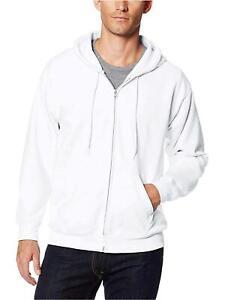 Hanes-Men-039-s-Full-Zip-EcoSmart-Fleece-Hoodie-White-2XL-White-Size-XX-Large-9x