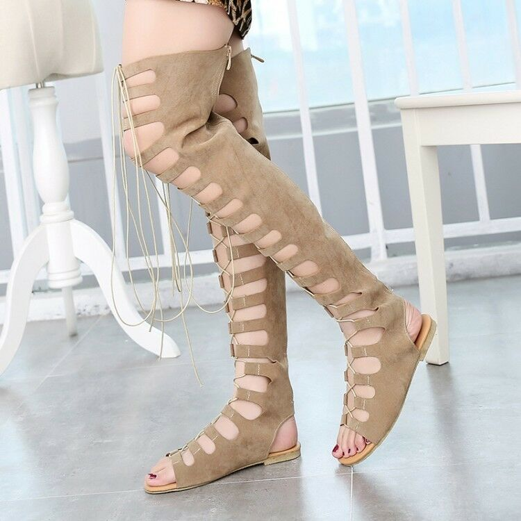 Women Summer Casual Strappy Gladiator Cut Out Sandals Knee High Boots Flat shoes