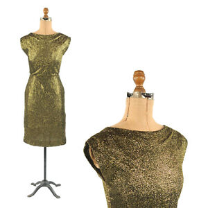 Vintage-60s-Black-Gold-Metallic-Mesh-Evening-Hourglass-Cocktail-Party-Dress-S