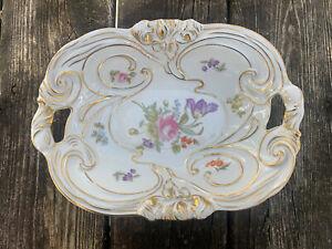 "RARE! Vintage JLMENAU Germany Large Serving Dish Bowl W/ Handles 11"" Gold Flower"