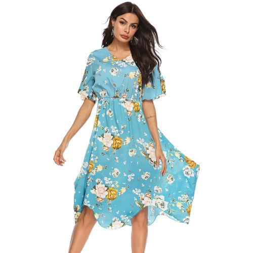 Women Summer Boho High Waist Party Dress Ladies Short Sleeve Midi Beach Sundress