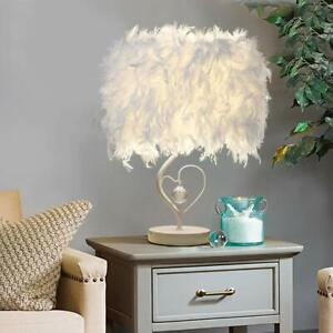 Feather-Table-Lamp-Shades-Abat-jour-Elegant-Chevet-Bureau-Veilleuse-Deco-PS