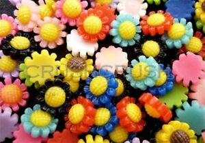 Free-Shipping-50pcs-9mm-Tiny-Resin-SUNFLOWER-Flat-Back-Cabochons-Garden-F690