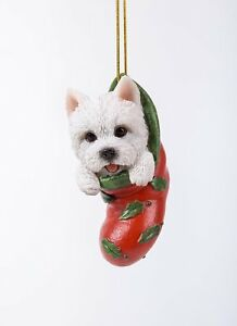 Westie West Highland Terrier Terrier Highland Dog in Stocking Hanging Ornament Pet ... 9cf005
