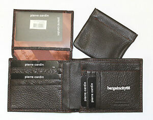 New Pierre Cardin RFID Blocking Genuine Leather Mens Walllet w/Coin Change Purse