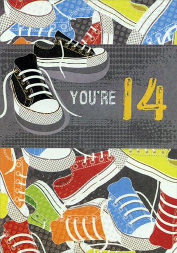 14th Birthday Card Black Sneakers with Gold Foil Accents Age 14