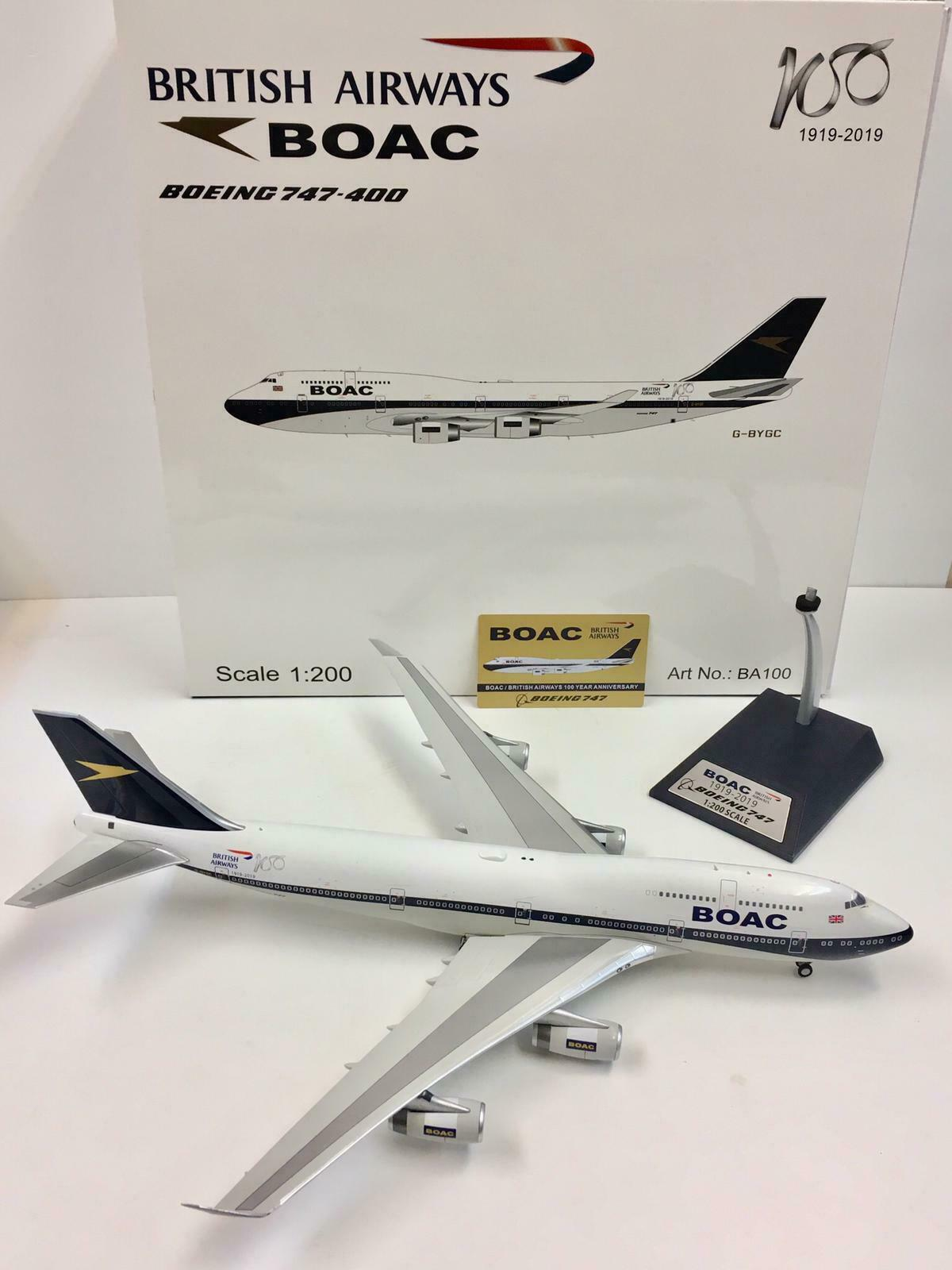 InFlight 200 1 200 IFBA100 BOAC British Airways Boeing 747-400 G-BYGC 100 Years